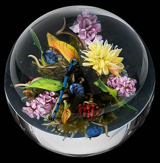 Paul J. Stankard Botanical Art Glass Paperweight