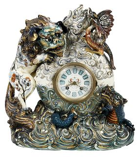 Keller & Guerin Faience Pottery Mantel Clock