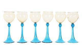 Set of (6) Steuebn Amber & Celeste Blue Goblets