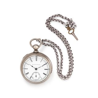 ELGIN, SILVER OPEN FACE POCKET WATCH WITH CHAIN