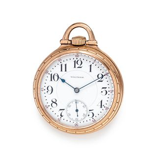 WALTHAM, GOLD-FILLED OPEN FACE POCKET WATCH