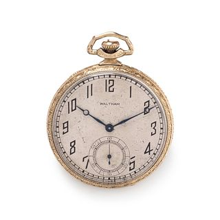 WALTHAM, GOLD-FILLED OPEN FACE POCKET WATCH WITH FOB CHAIN AND KNIFE