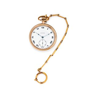 WALTHAM, GOLD-FILLED OPEN FACE POCKET WATCH WITH FOB CHAIN