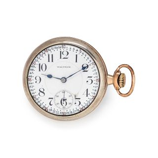 WALTHAM, GOLD-FILLED AND SILVER OPEN FACE POCKET WATCH