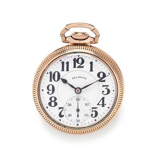 ILLINOIS WATCH CO., GOLD-FILLED OPEN FACE POCKET WATCH