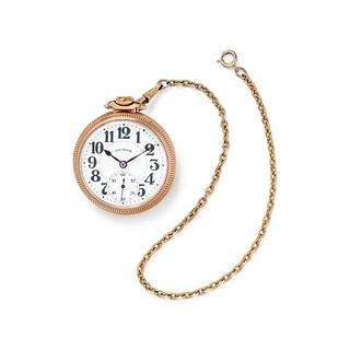 ILLINOIS WATCH CO., GOLD-FILLED OPEN FACE POCKET WATCH WITH FOB CHAIN