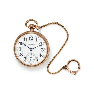 HAMILTON, GOLD-FILLED OPEN FACE POCKET WATCH WITH FOB CHAIN