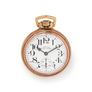 HAMILTON, GOLD-FILLED 'RAILWAY SPECIAL' OPEN FACE POCKET WATCH