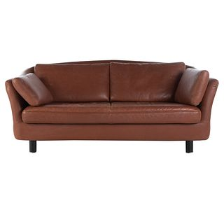 DUX Brown Leather Contemporary Sofa