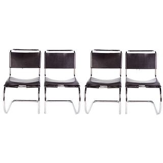 4 Mies Van Der Rohe MR Leather Chairs For Knoll