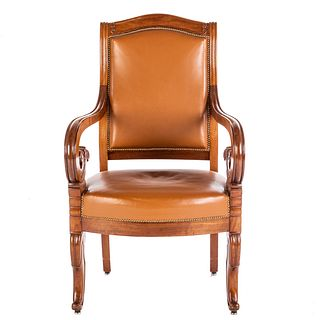 Loyd- Paxton Regency Style Leather Arm Chair