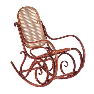 American Painted Bentwood Cane Seat Rocker