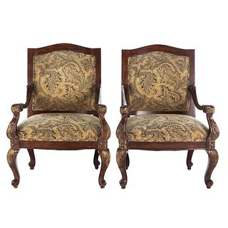 Pair of George III Style Upholstered Arm Chairs