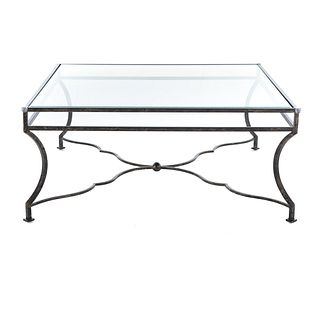 Large Contemporary Glass Top Coffee Table