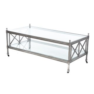 Two-Tier Contemporary Glass Top Coffee Table
