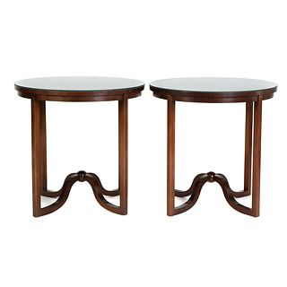 Pair of Baker Mahogany Round Occasional Tables