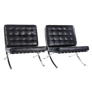 Pair of Barcelona Style Leather Chairs