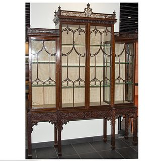 Chinese Chippendale Style Mahogany China Cabinet
