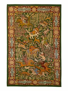 An Indian Crewelwork Copy of a Qum Hunting Rug 57 x 36 inches.