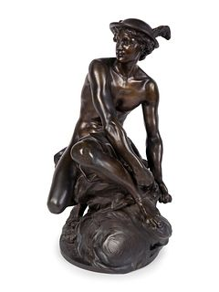 After Jean-Baptiste Pigalle  (French, 1714-1785) Seated Mercury