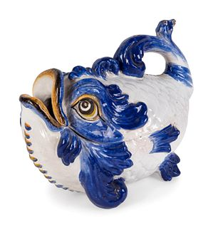 An Italian Maiolica Fish-Form Tureen and Cover Height 14 x length 16 1/2 x width 9 inches.