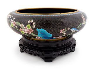 A Chinese Cloisonne Circular Bowl Height 5 x diameter 15 inches; height of stand 3 1/2 inches.