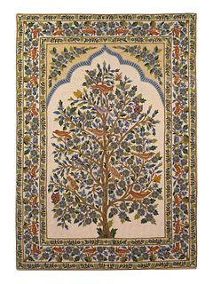 An Indian Crewelwork Copy of a Tree of Life Pattern Prayer Rug 70 x 47 inches.