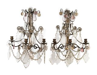 A Set of Four Louis XV Style Brass and Glass Three-Light Sconces Height 18 x width 14 x depth 9 inches.