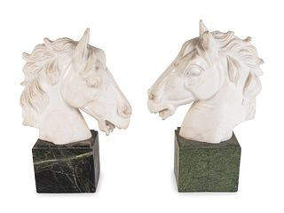 A Pair of Continental Carved Marble Horse Heads Height of head 8 x length 8 x width 3 inches; height of base 3 3/4 x 4 1/4 x 3 1/4 inches.