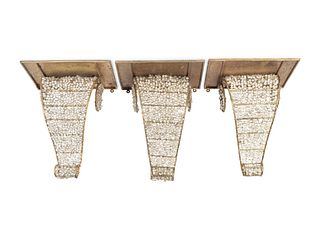 Three Neoclassical Style Gilt-Metal and Beaded Glass Brackets Height 14 1/2 x width 12 x depth 8 inches.