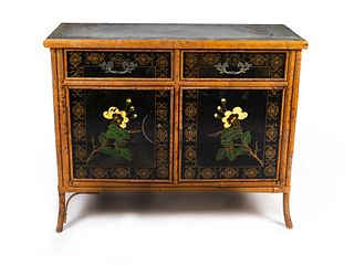 A Victorian Bamboo and Lacquer Cabinet Height 32 x length 39 x depth 16 inches.