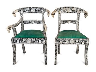 A Set of Eight Indian Mother-of-Pearl-Inlaid Dining Chairs Height 35 inches.