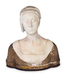 An Italian Carved Marble and Incised Wood Bust of a Woman Height 22 x width 20 x depth 12 inches.