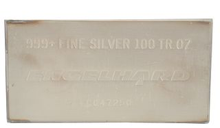 100 troy oz. Engelhard Silver Bar, marked 999 fine silver, 100 troy ounces.