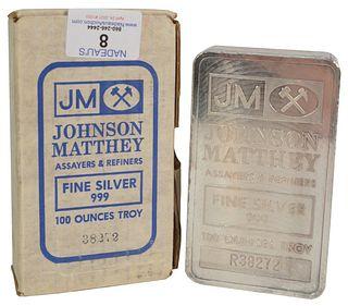 100 troy oz. Johnson Matthey Silver Bar, marked 999 fine silver, 100 troy ounces in box.