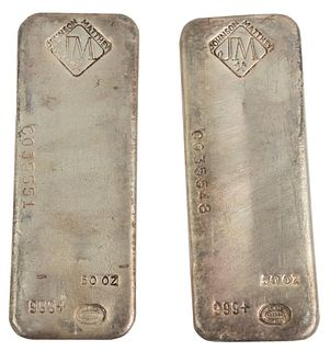 100 troy oz. Pure Silver, consisting of two 50 troy ounce bars, marked Johnson Matthew.