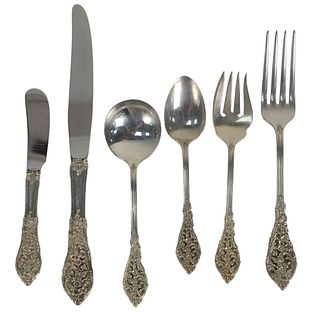 Reed and Barton Sterling Silver Flatware Set, seventy three piece setting for twelve to include 12 dinner forks; 11 salad forks; 12 soup spoons; 12 te
