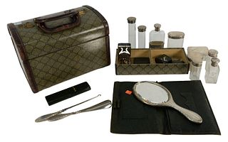 Travelling Vanity Set having sterling silver top bottles, mirror, inkwell, lighter, etc. in fitted box, height 9 inches, length 13 inches, several ite