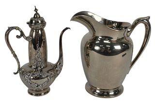 Two-Piece Sterling Silver Pitcher and Teapot, pitcher height 8 3/4 inches, teapot 9 3/4 inches, 34.4 t.oz.