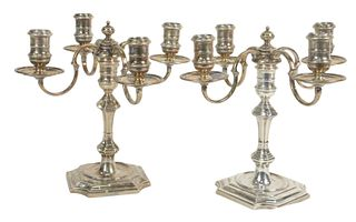Pair English Sterling Silver Candelabras, marked James Robinson, Incorporated, New York, height 8 3/4 inches, 67.4 t.oz.