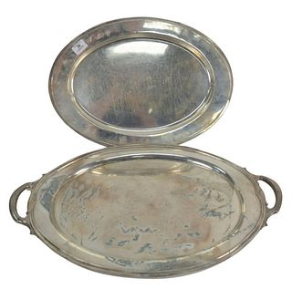 Two Large Sterling Silver Oval Trays to include Gorham with knife cuts, length 20 inches, along with a two handled tray, length 25 inches, 136.8 t.oz.