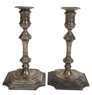 Pair of Sterling Silver Candlesticks, weighted, height 10 1/8 inches. Provenance: From a Newport, Rhode Island historic home, in the same family since