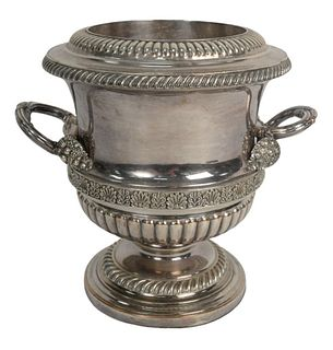 Sheffield Silver Plated Wine Cooler with two handles, height 9 1/2 inches. Provenance: From a Newport, Rhode Island historic home, in the same family