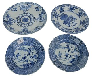 Four piece lot to include a pair of Chinese Blue and White Deep (Soup) Dishes with scalloped edges and figural decoration, 19th century, depth 9 inche
