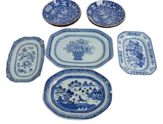 Eight Piece Group to include four Chinese blue and white platters, one canton and three floral decoration, along with four Chinese blue and white deep