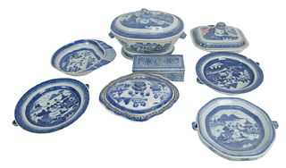 Eight Piece Lot of Canton to include 3 warming plates, 3 covered dishes, 1 covered box, largest height 7 inches, length 12 inches. Provenance: From a