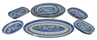 Eleven Piece Lot of Canton to include fish trays with liner, well and tree platter, along with various trays, fish platter, length 19 inches. Provenan