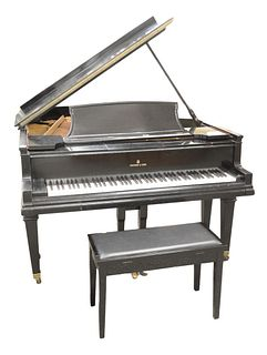 "Steinway and Sons Grand Piano model A ebonized with ""Capo D'Astro Pat"" duplex scale (cracked soundboard)."