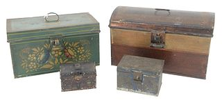 Four Painted Tole Boxes to include large dome top with painted flower on sides, a green box having stenciled flowers, along with two small boxes, larg