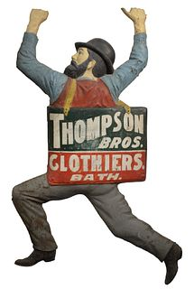 Clothier's Trade Sign, Thompson Brothers; Bath, Maine; pressed and painted tin, late 19th century or later, height 74 inches, width 50 inches.